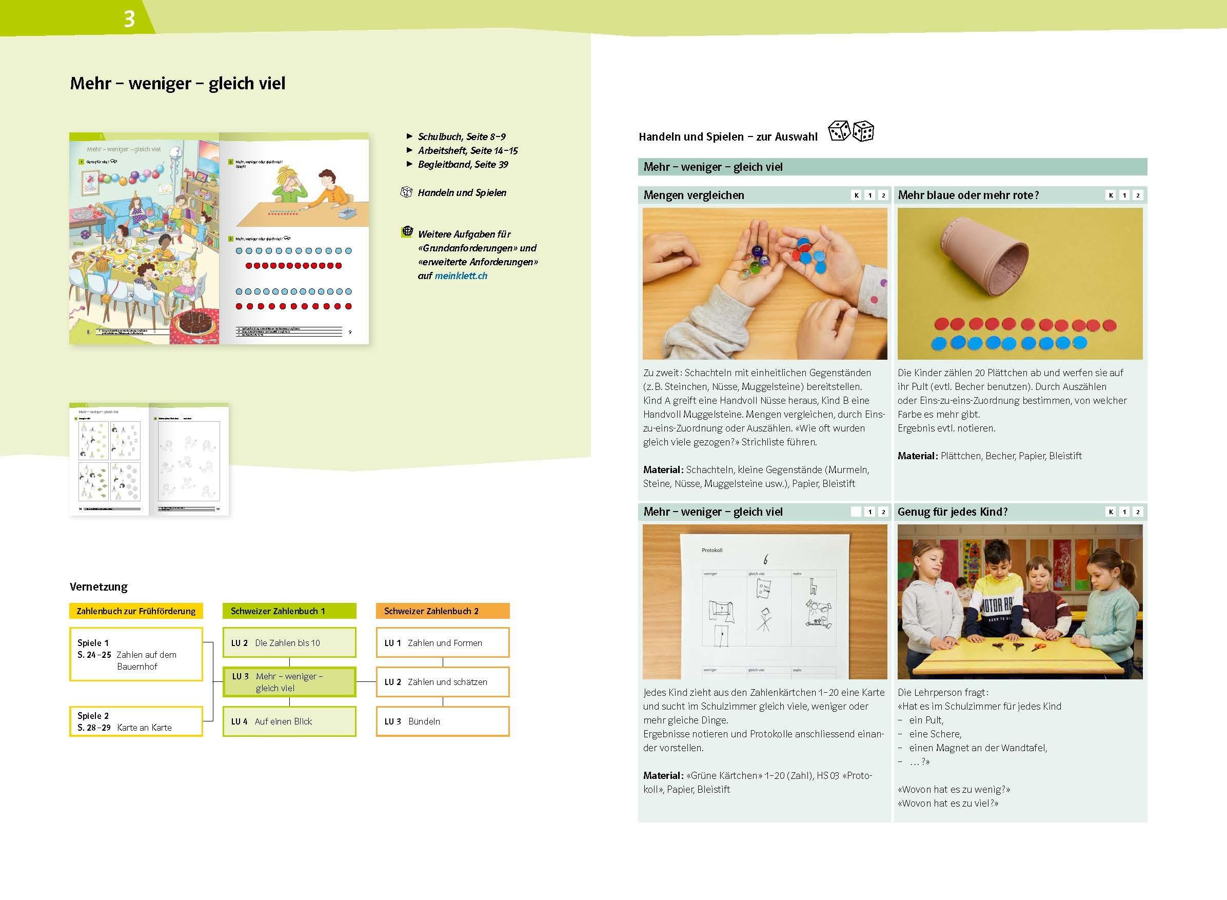 Schweizer Zahlenbuch 1 Begleitband Lernumgebung 3 978 3 264 84703 1 klett und balmer