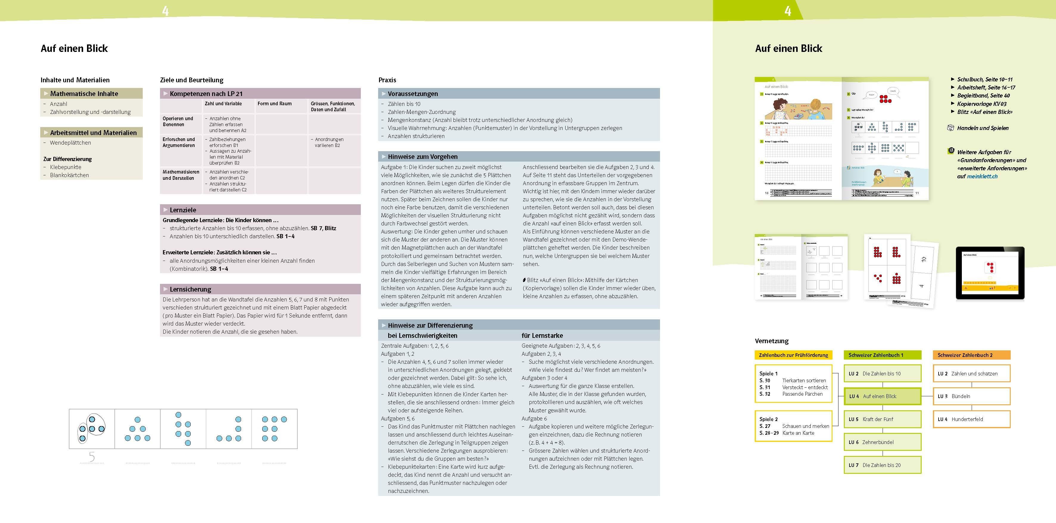 Schweizer Zahlenbuch 1 Begleitband Lernumgebung 4 978 3 264 84703 1 klett und balmer