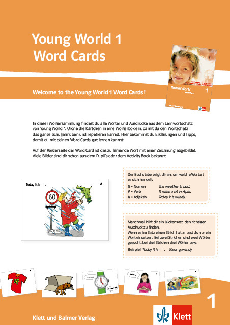 Word cards young world 1 978 3 264 84176 3 0 klett und balmer