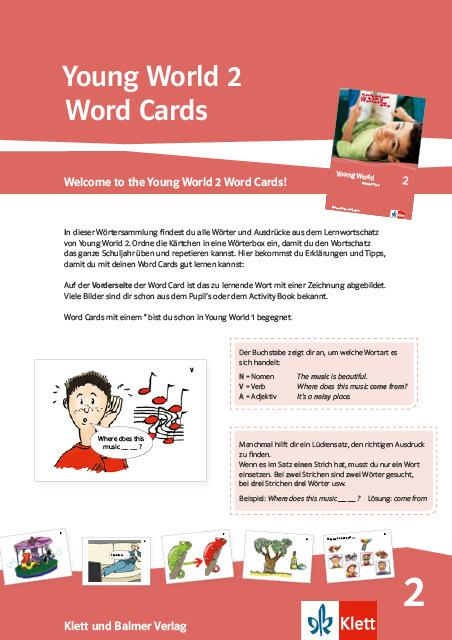 Word cards young world 2 978 3 264 84177 0 klett und balmer
