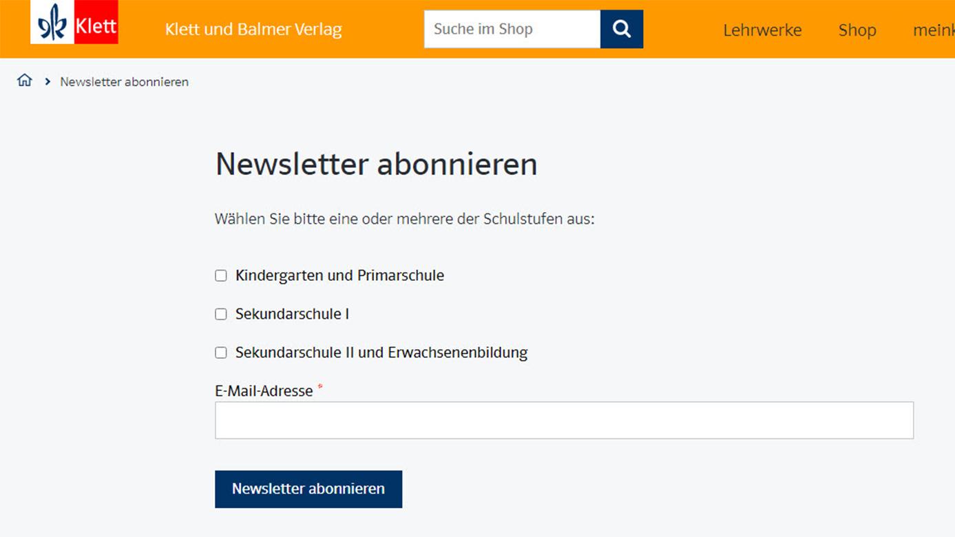 Screenshot Newsletter Formular formatiert
