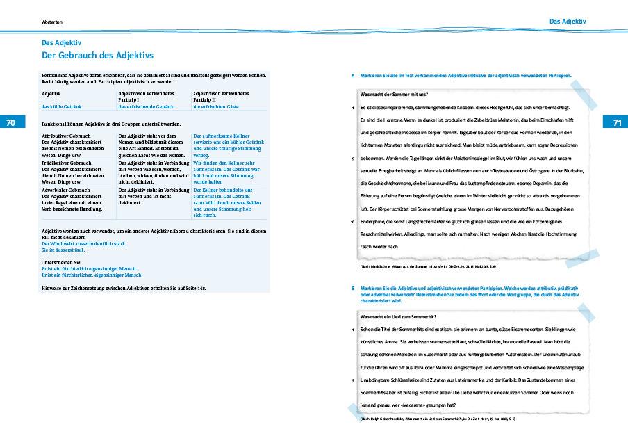 Seite 70 71 systematische uebungsgrammatik 978 3 264 83976 0 klett und balmer