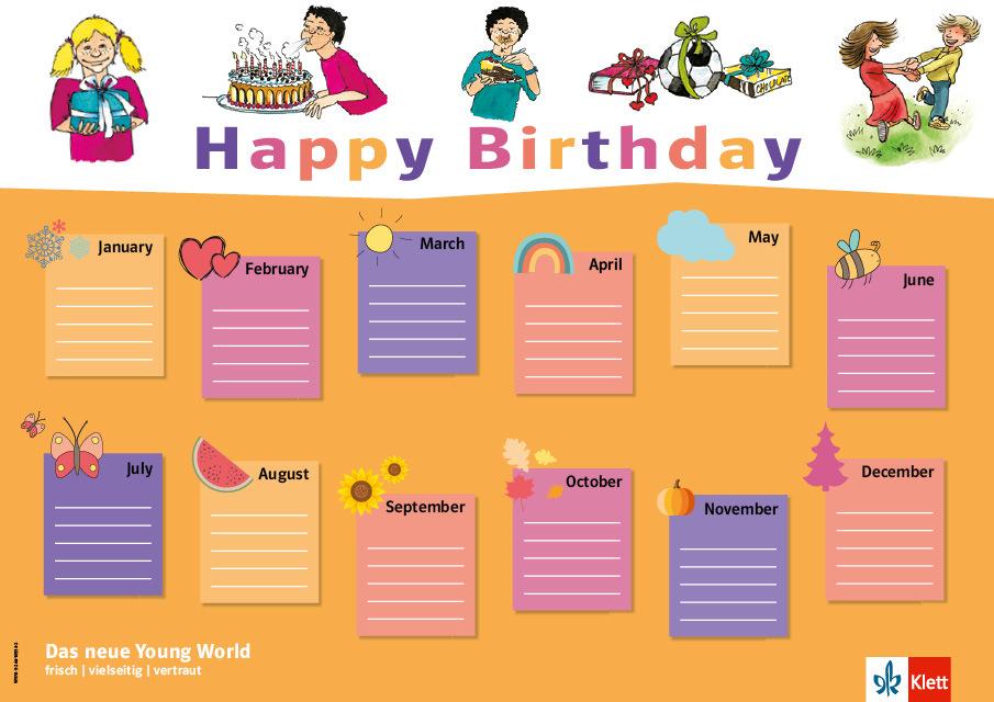 Geburtstagskalender young world neu klett und balmer